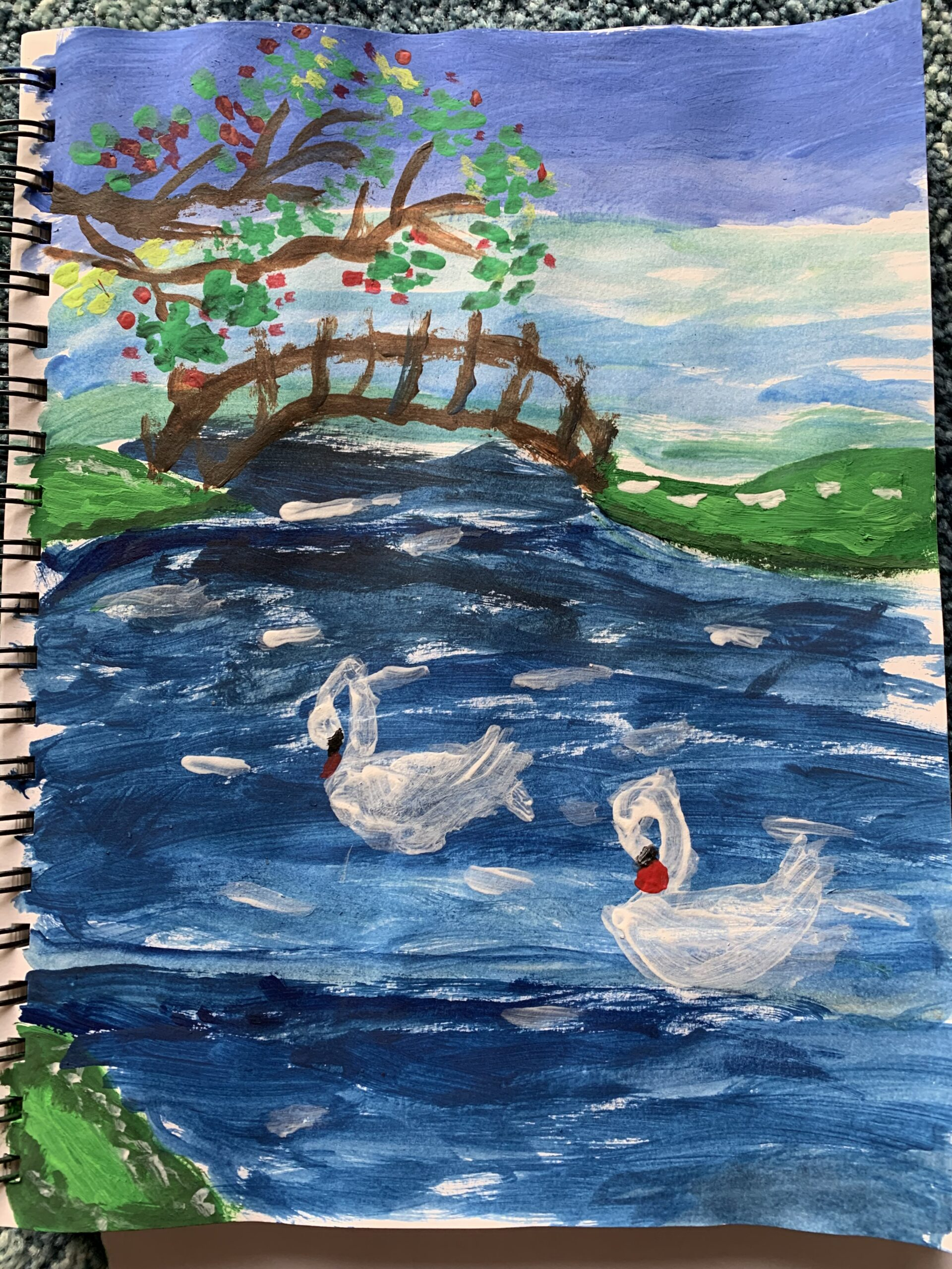 Swans in a Beautiful Lake by Kaitlyn Isabella Lewis