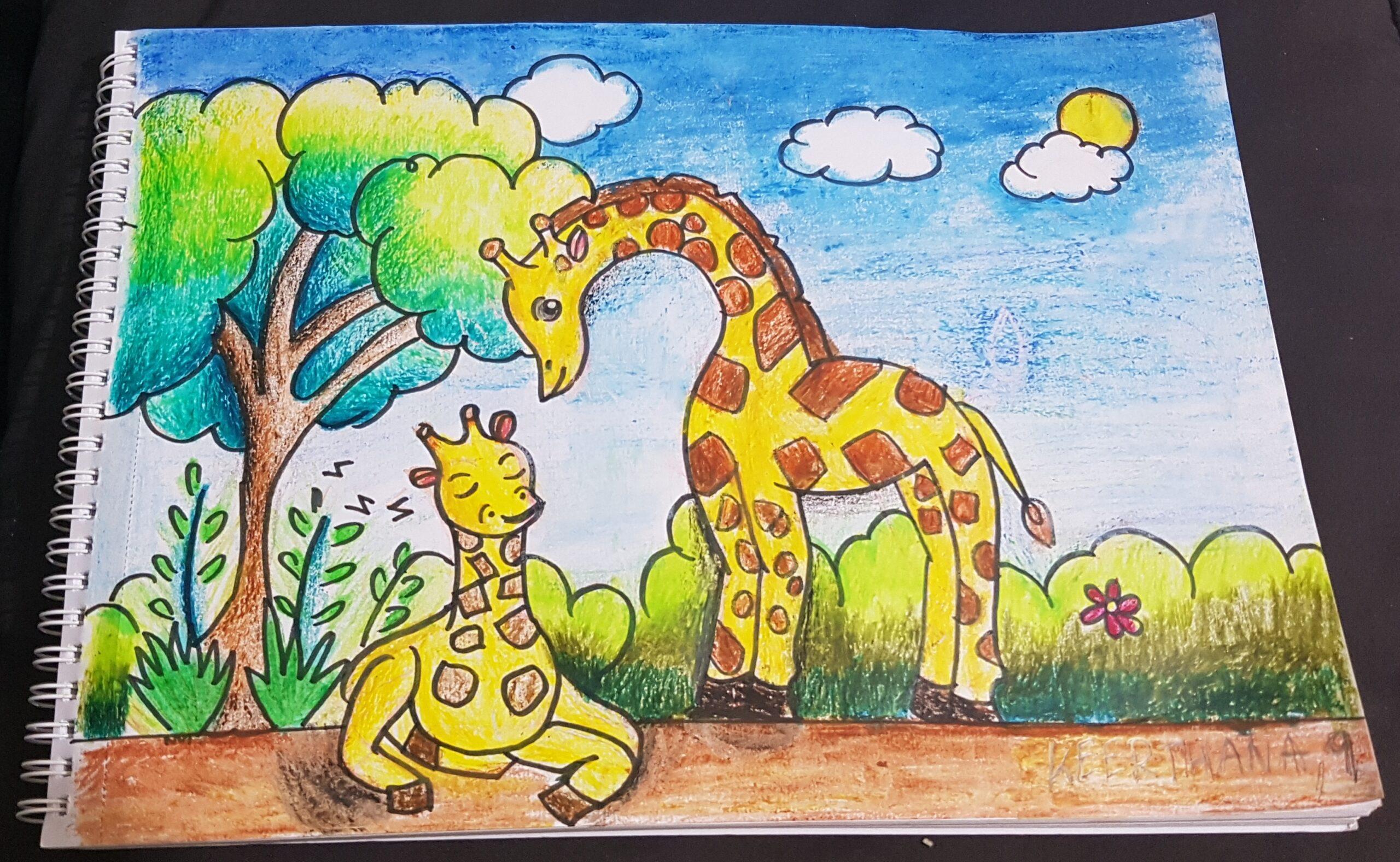 Giraffe drawing by Keerthana