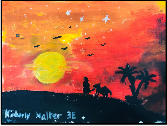 A Man and A Camel in the Desert by Kimberly Walker